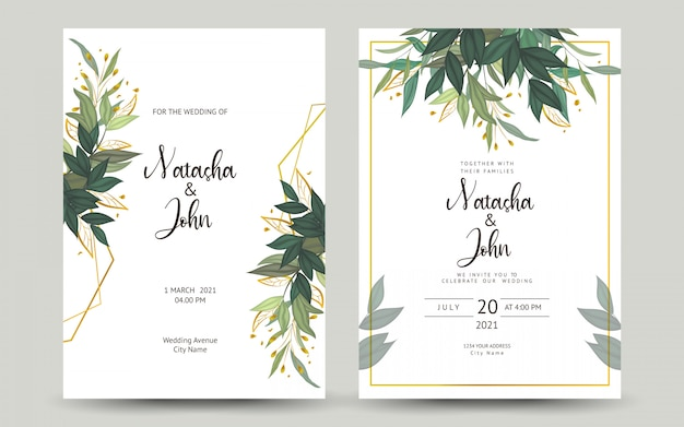 結婚式の招待カードのセット Premiumベクター