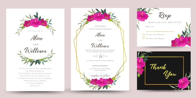 ハイビスカスの花の結婚式の招待のセット Premiumベクター