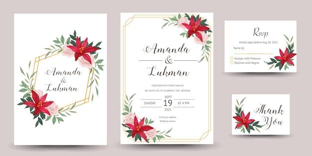 ユリの花の結婚式の招待のセット Premiumベクター
