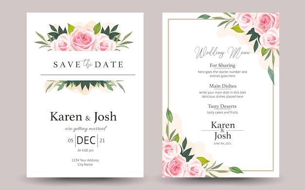 バラの花と結婚式の招待のセット Premiumベクター