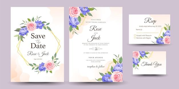 バラと結婚式の招待状のセット Premiumベクター