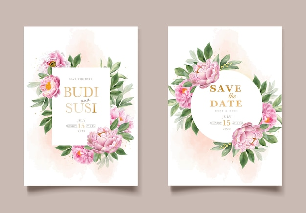 結婚式の招待状のセット 無料ベクター