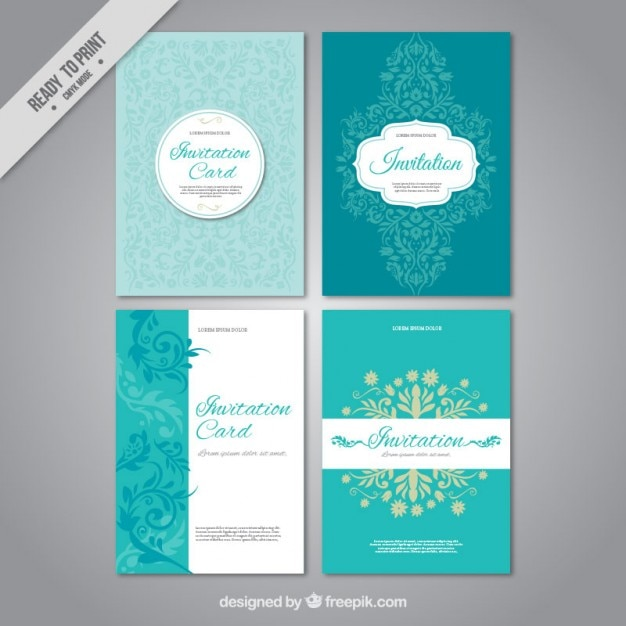 Set of wedding invitations Vector Free Download