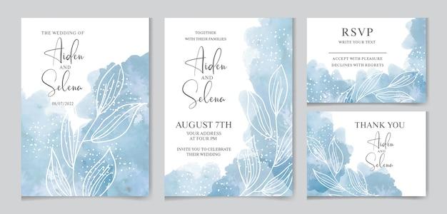Набор свадебных акварельных приглашений с синим всплеском Premium векторы