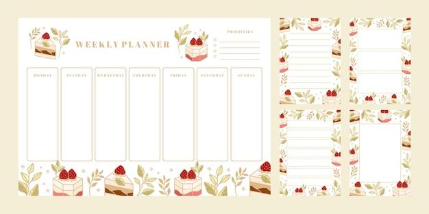 주간 플래너 세트, 일일 할 일 목록, 메모장 템플릿, 손으로 그린 케이크, 꽃 및 딸기 요소가있는 학교 스케줄러 프리미엄 벡터