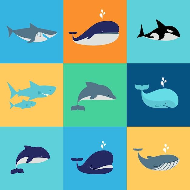 Набор китов, дельфинов и акул Бесплатные векторы