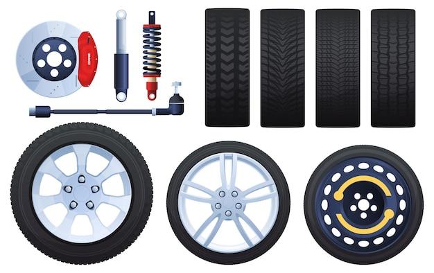 ホイール、ブレーキ、ショックアブソーバー、タイヤのセット。さまざまなプロテクター。白い背景で隔離。 Premiumベクター