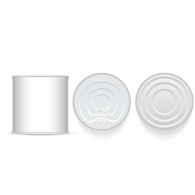 白と金属の錫のセット。 Premiumベクター