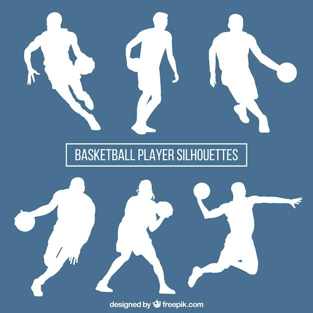 Set of white basketball silhouettes