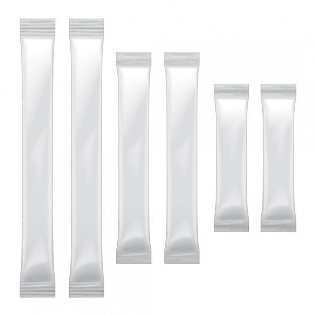 食品、砂糖、塩、コショウ、調味料、プラスチックパックの白い空白の箔袋包装のセット Premiumベクター
