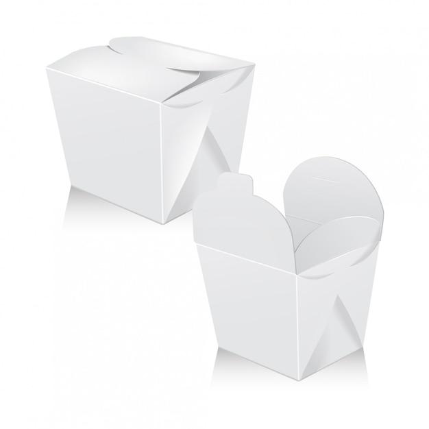白い空白鍋ボックスのセットです。包装。アジアまたは中国のカートンボックスは、食品紙袋を奪います Premiumベクター