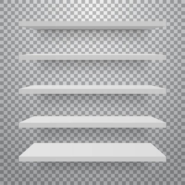 Набор белых различных мебельных полок. Premium векторы