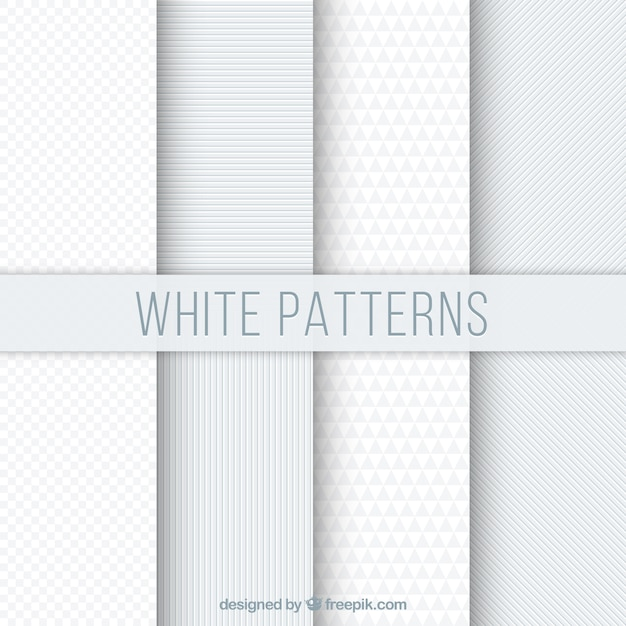 Set of white geometric patterns Free Vector