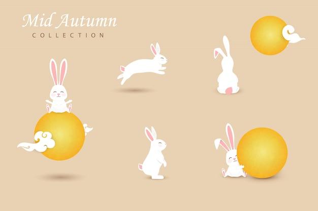 中国の雲、黄色い満月と白い幸せでかわいい月のウサギのセットです。コレクション面白いバニー。図 Premiumベクター