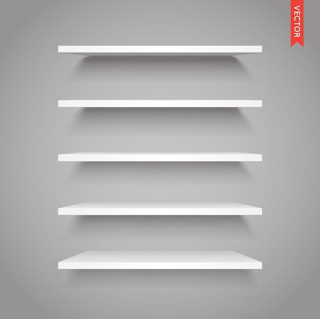 흰색 플라스틱 선반 세트 프리미엄 벡터
