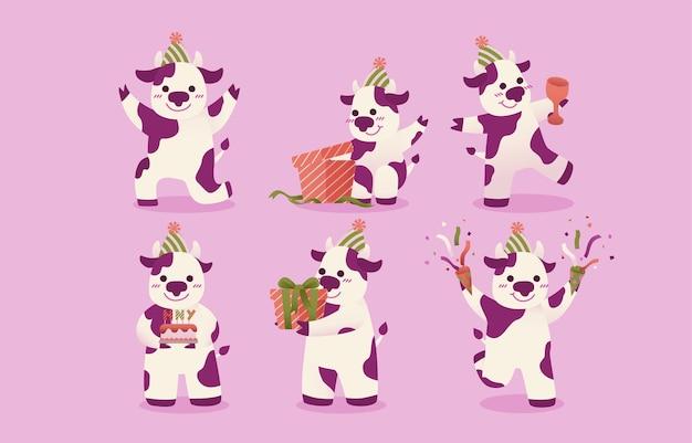 白紫の斑点のある牛のセット。 無料ベクター