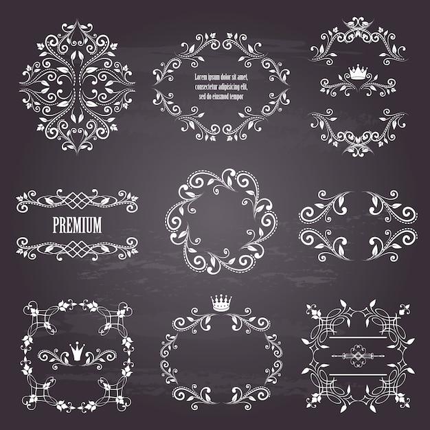 54ae78b2473 set of white retro styled ornamental frames Premium Vector