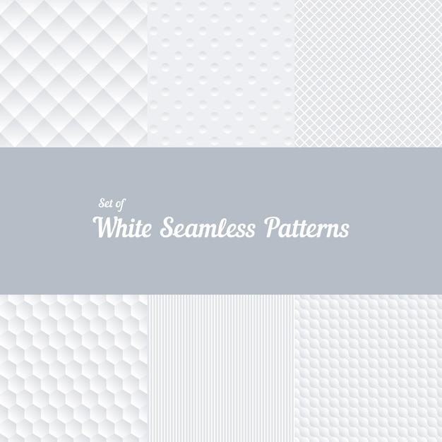 흰색 완벽 한 패턴의 집합입니다. 볼록 및 체적, 줄무늬 및 교차, 정사각형 및 육각형. 벡터 일러스트 레이 션 무료 벡터