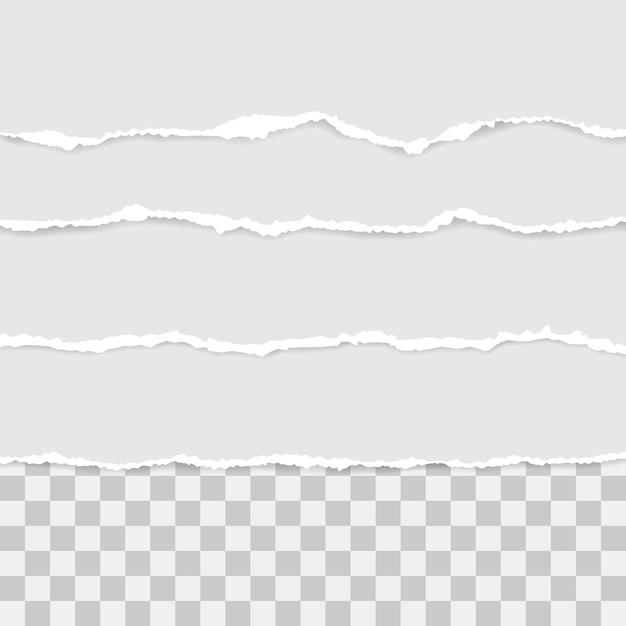 白い破れた紙のセットです。影付きイラスト Premiumベクター