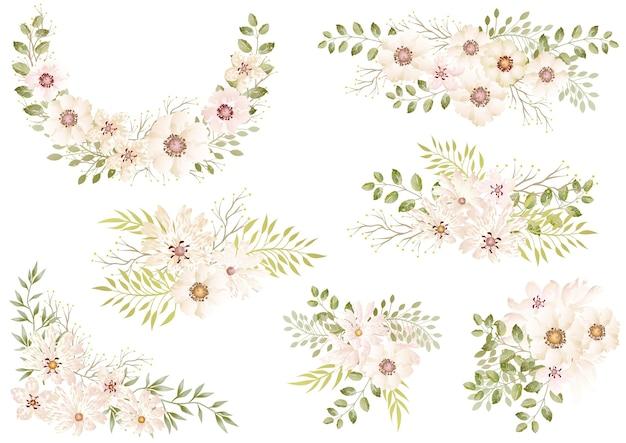 흰색에 고립 된 흰색 수채화 꽃 요소의 집합 무료 벡터