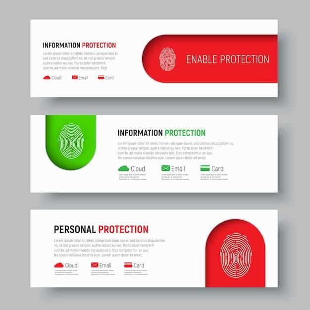 Набор белых веб-баннеров с отпечатком пальца на красный и зеленый цвета Premium векторы