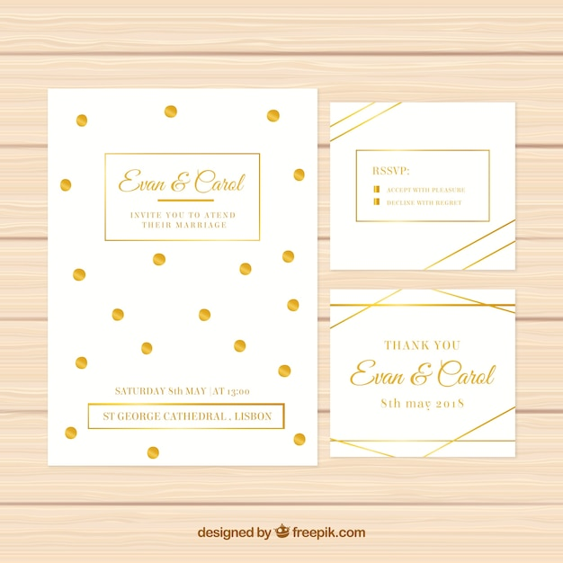 Set of white wedding invitations with golden elements Free Vector