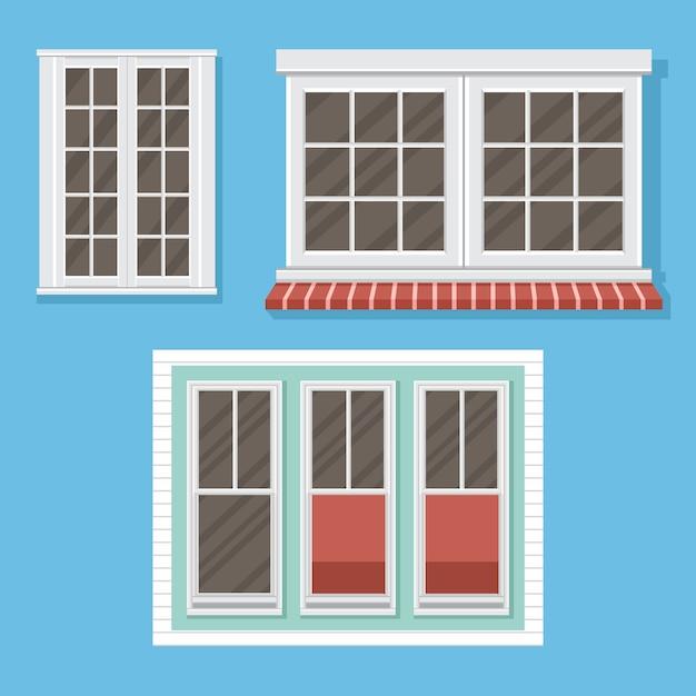 Windowsillsイラストと白い窓のセット Premiumベクター