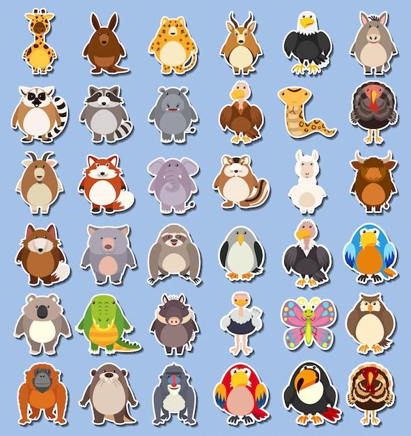 Набор наклеек диких животных Premium векторы
