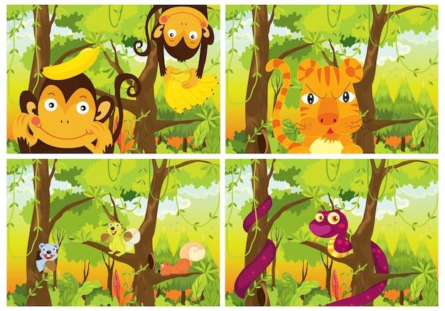 森の野生動物のセット 無料ベクター