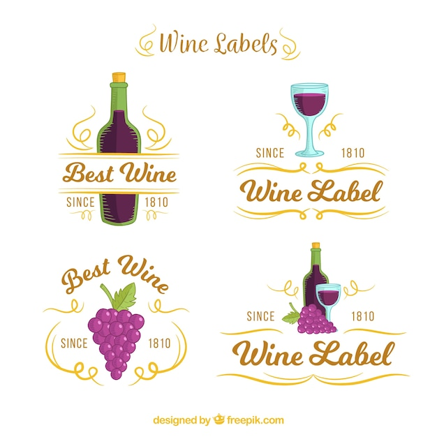 Set of wine labels with purple details