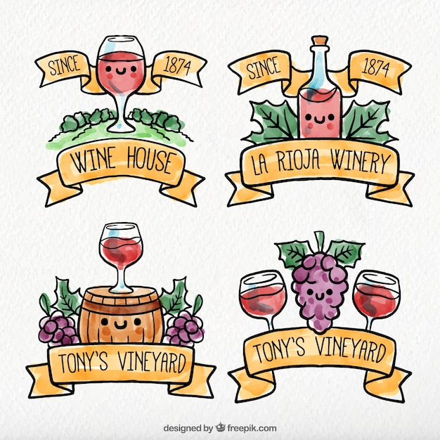 Set of wine stickers with cute\ characters
