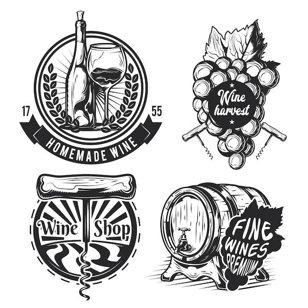 Набор элементов виноделия (бочка, виноград, бутылка и др.), эмблемы, этикетки, значки, логотипы. Бесплатные векторы