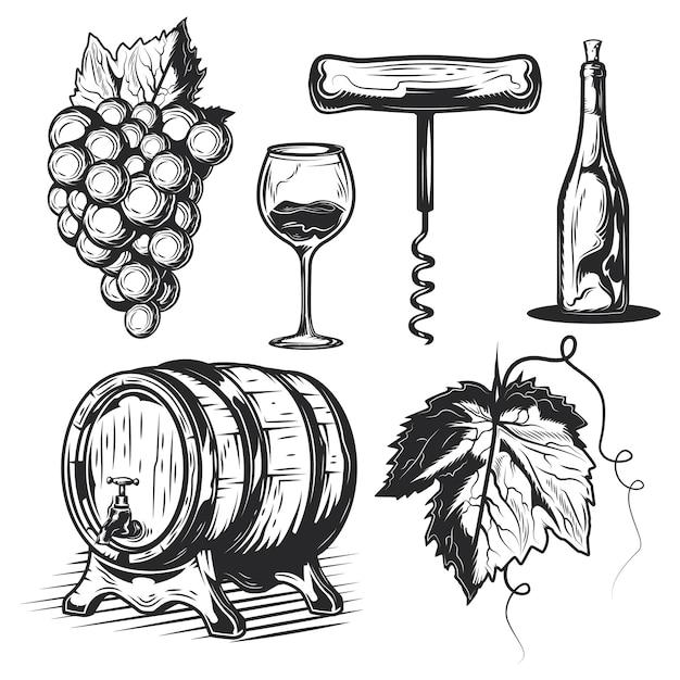 Набор винодельческих элементов (бочка, виноград, бутылка и др.) Бесплатные векторы