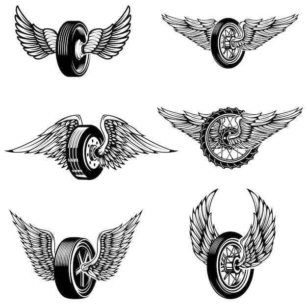 白い背景の上の翼のある車のタイヤのセット。ロゴ、ラベル、エンブレム、記号の要素。図 Premiumベクター