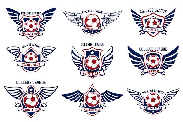 축구 공으로 날개 엠 블 럼 세트 로고, 라벨, 엠 블 럼, 기호에 대 한 요소입니다. 삽화 프리미엄 벡터