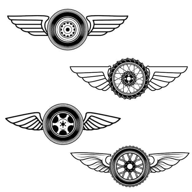 翼のある車輪のセット。ロゴ、ラベル、エンブレム、記号の要素。図 Premiumベクター
