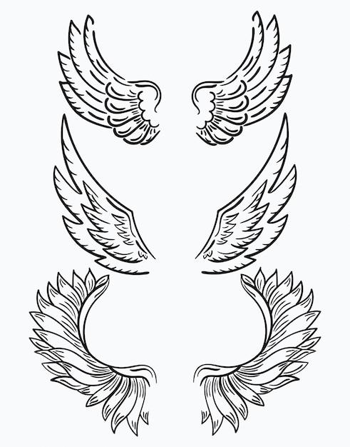翼のセットです。クリップアート用の白黒翼のコレクション。抽象的な天使の羽。 Premiumベクター