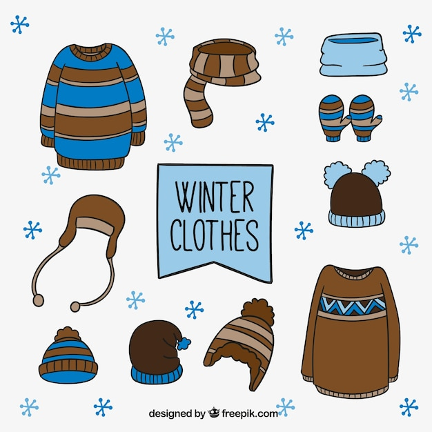 Set of winter clothes with hand drawn\ elements