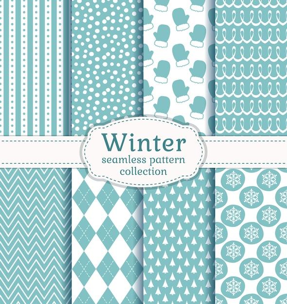 옅은 파란색과 흰색 색상으로 겨울 완벽 한 패턴의 집합입니다. 프리미엄 벡터