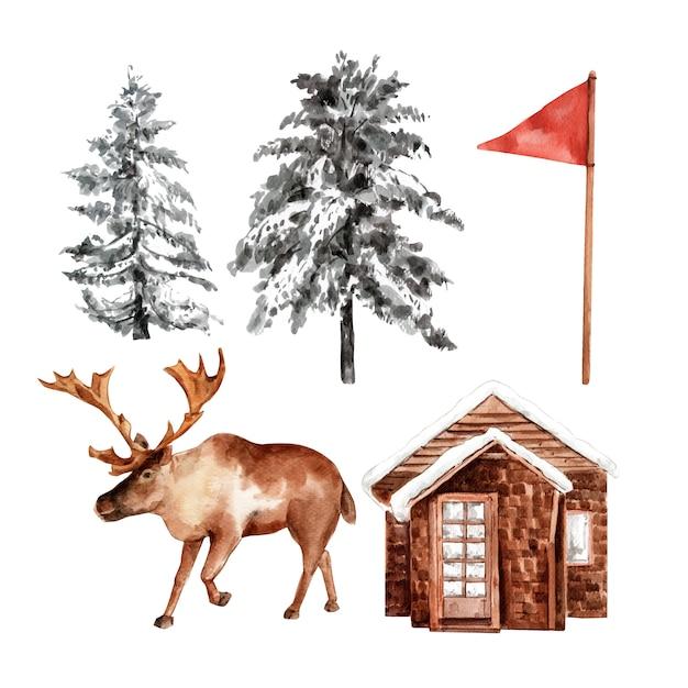冬のスポーツデザイン要素水彩のセット、手描きイラスト。 無料ベクター