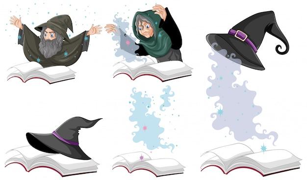 흰색 배경에 고립 책에 마녀 또는 마법사 마술 모자 세트 무료 벡터