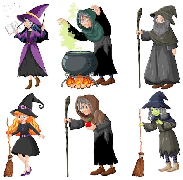 마법의 도구 만화 스타일 흰색 배경에 고립 된 마법사 또는 마녀의 집합 무료 벡터