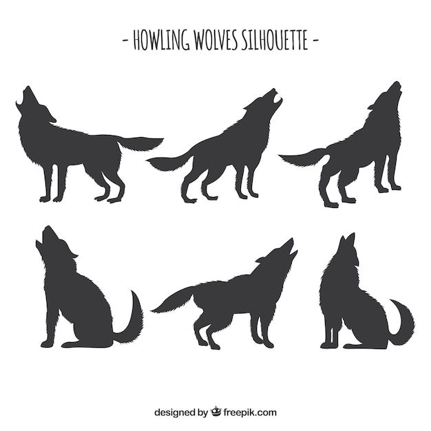 set of wolf silhouettes free vector