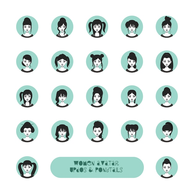 Set of woman avatar with different\ hairstyles