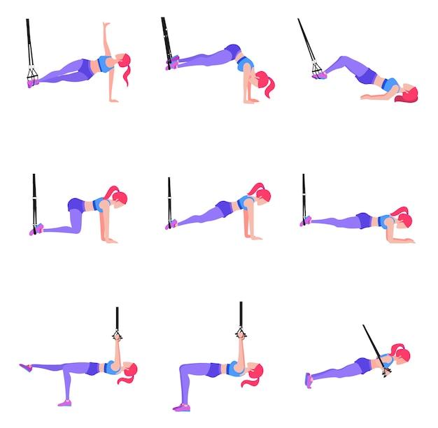 Набор женщины делают различные упражнения с гимнастическими кольцами trx, с Premium векторы