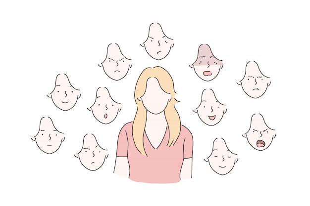 Набор концепции эмоций женщины. Premium векторы