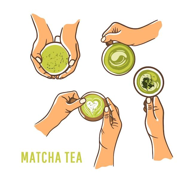 Набор женщина руки, держа чашку зеленый матч белый фон. вид сверху, плоская планировка. концепция безмолочного питания Premium векторы