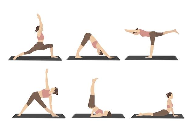 Набор женщины, выполняющей позы йоги в коричневой спортивной одежде Бесплатные векторы