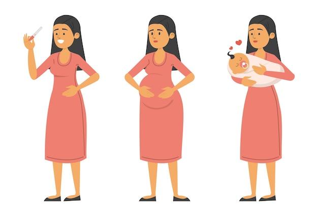 妊娠中および赤ちゃんとテスト陽性の女性のセット Premiumベクター