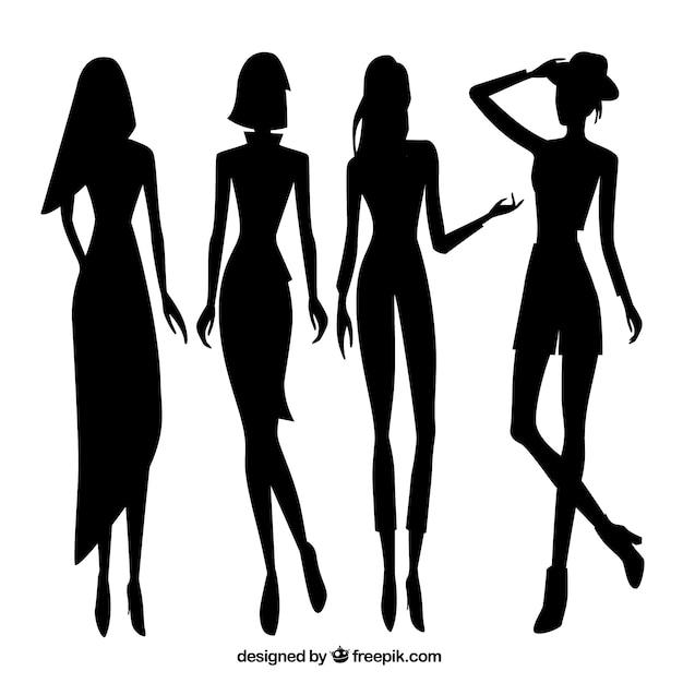 Set Of Women Model Silhouettes Vector
